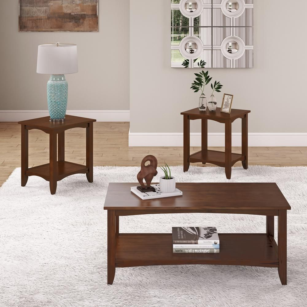 Corliving Cambridge 3 Piece Cappuccino 2 Tiered Coffee Table And