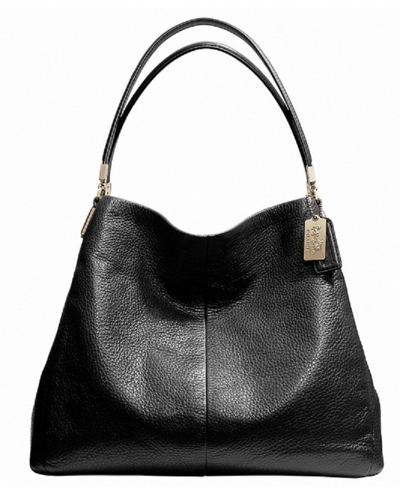 Coach Madison Phoebe Leather Shoulder Bag In Black Dual Handles With A Drop Of About 7 Measures Roximately 15 L Bottom X 13 H 5 W