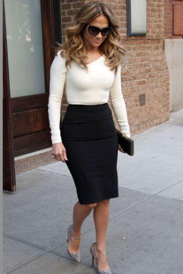 894595f41 Celebrities Show You How To Wear Pencil Skirts: Jennifer Lopez ...