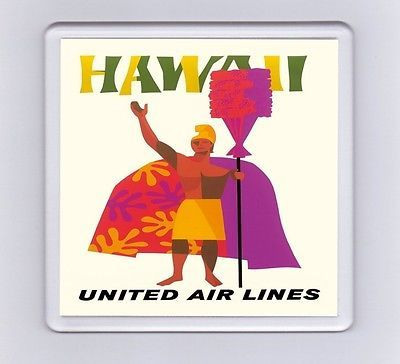 #Vintage air travel #poster drink #coaster - hawaii united air lines (2),  View more on the LINK: http://www.zeppy.io/product/gb/2/161932976964/