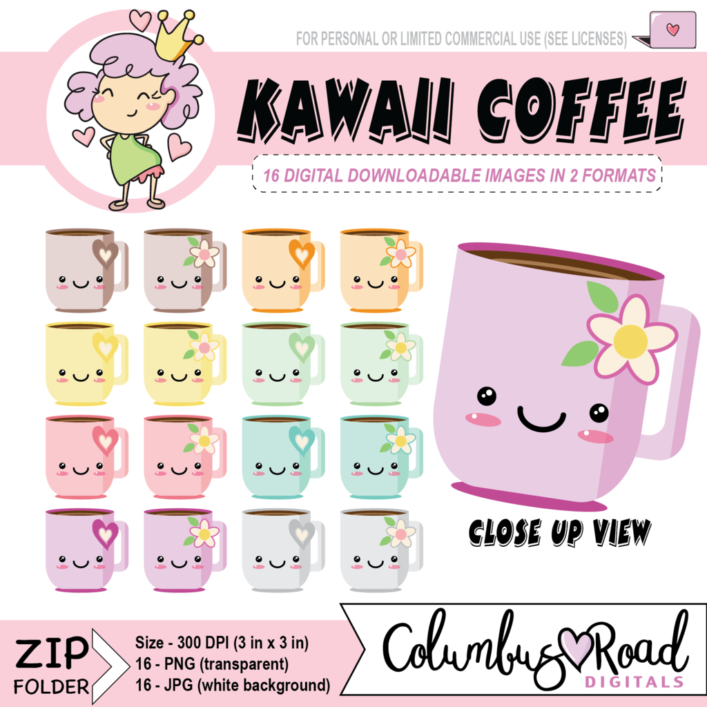 kawaii coffee cups digital downloadable clipart kawaii coffee cup digital artwork goodnotes art sticker art [ 1024 x 1024 Pixel ]