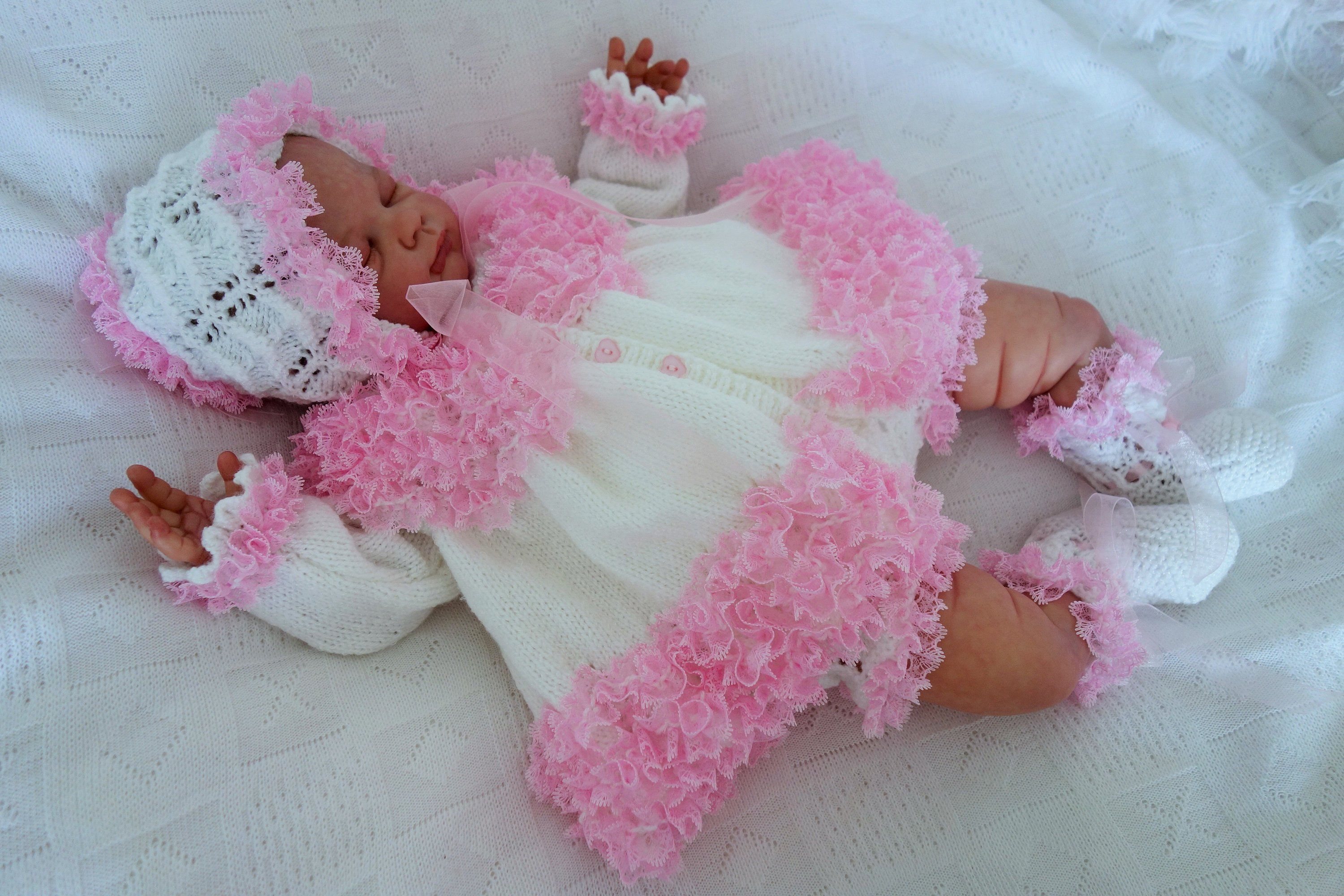 70829e50b8e5 Baby s hand knitted frilly matinee coat