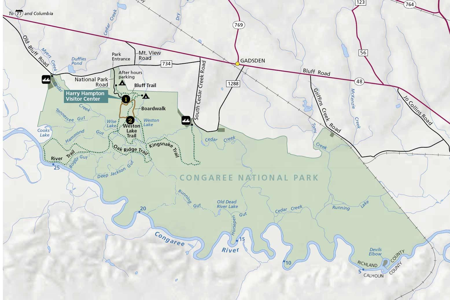 Congaree national park map Yahoo Search Results MAPS Out of