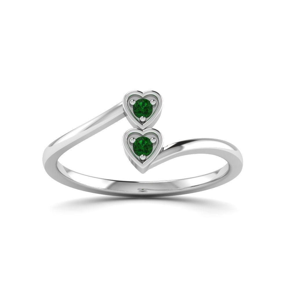 Double Heart Diamond Crossover Alternative Engagement Ring with Green Emerald in 14K White Gold exclusively styled by Fascinating Diamonds