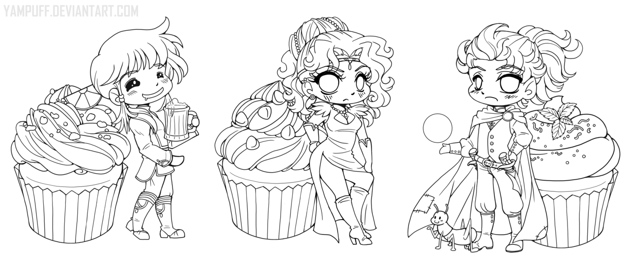 Cookbook Chibi Linearts :Commission:: by YamPuff ...