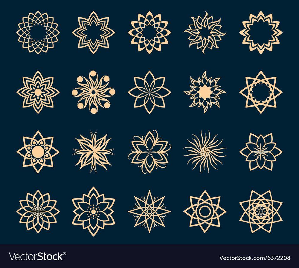 Abstract lotus geometric symbols vector image on