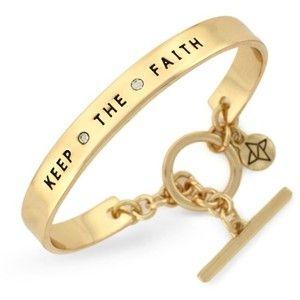 Bcbgeneration Gold Tone Crystal Keep The Faith Phrases Cuff Bracelet