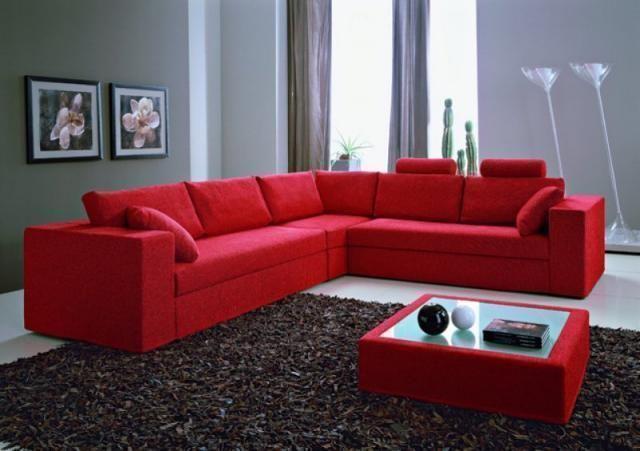 Divano Letto Angolare Rosso.Divano Ad Angolo Rosso E Tavolino Arredamento Salotto Idee