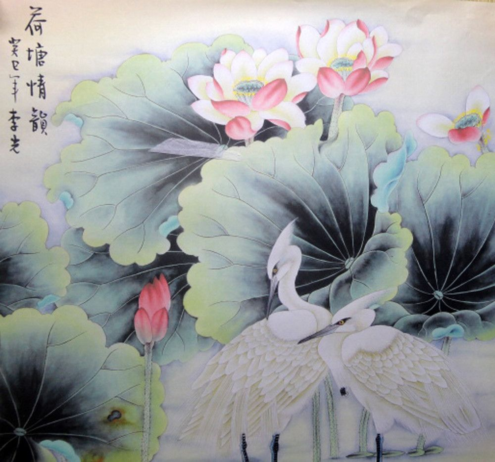 Watercolor Lotus Beautiful Watercolor Famous Artist Signed Chinese