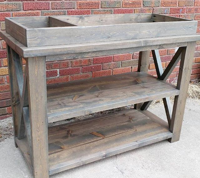 RusticX changing table, so sweet!  Finished in a custom stain mix  #buildlikeagirl #shoplocal #shopsmall #altonil