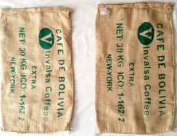 """These sacs were used for the packaging of green coffee from Bolivia.    Approximately Measurements: 30"""" x 18""""  (measured flat, one side)  Available at WitiDirect's Booth at Bonanza"""