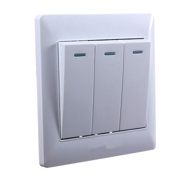 2015 New Universal 10A Power 3 Gang Wall Plate Light Bulb Push ...