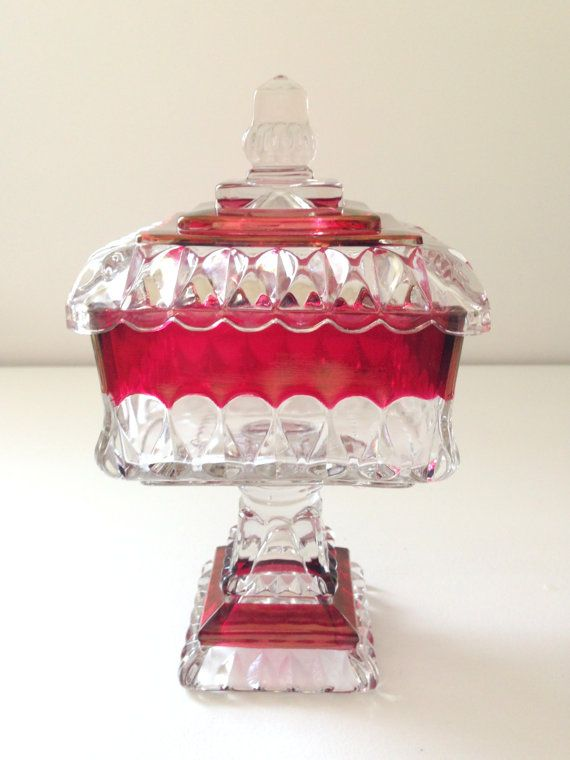 Mid Century Ruby Crimson and Clear Glass Square by MariasFarmhouse, $65.00