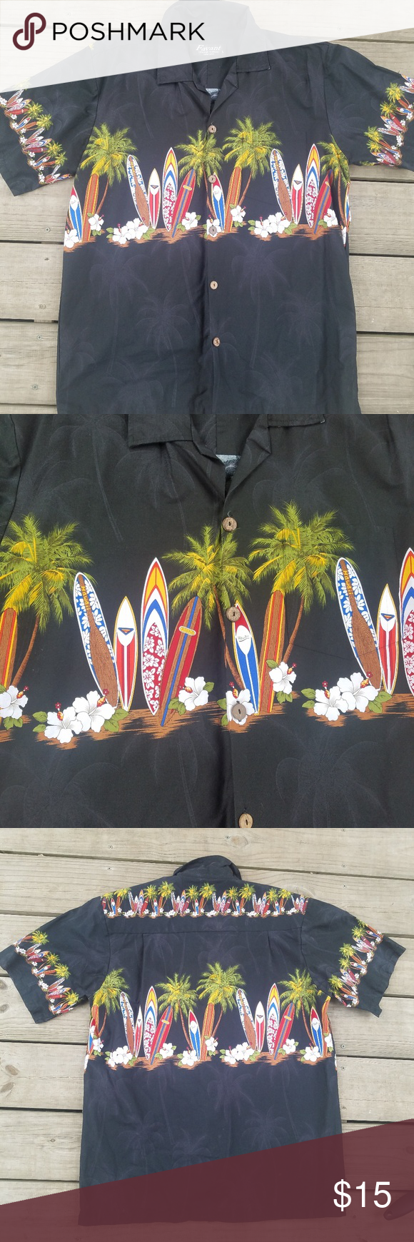 7aec689c Favant Hawaiian short sleeve button-down size larg Favant short sleeve  button-down Hawaiian