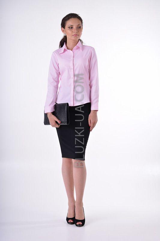 1a1b2b9764e Розовая блузка-рубашка для школы из фактурной ткани в едва заметную белую  полоску