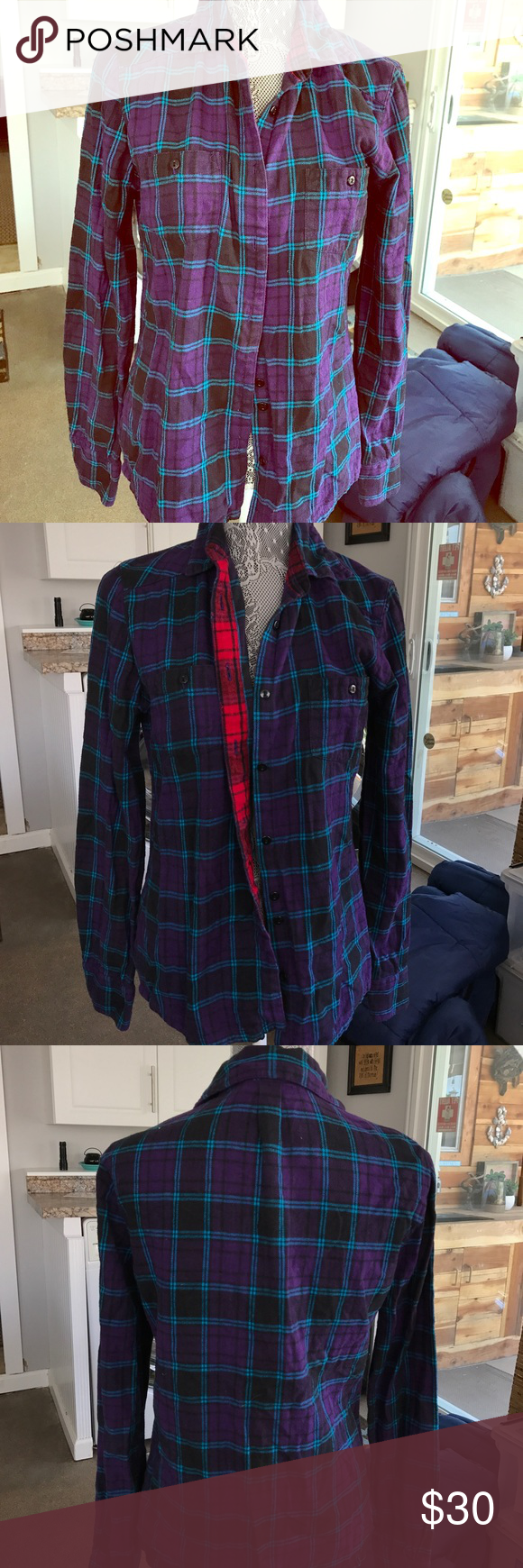 Red flannel vest womens  Purple flannel Purple blue and black womens flannel Red trim on