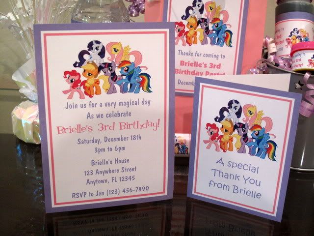 My Little Pony Birthday Party PDF CD W Invitation Favor Water - My little pony birthday party invitation template