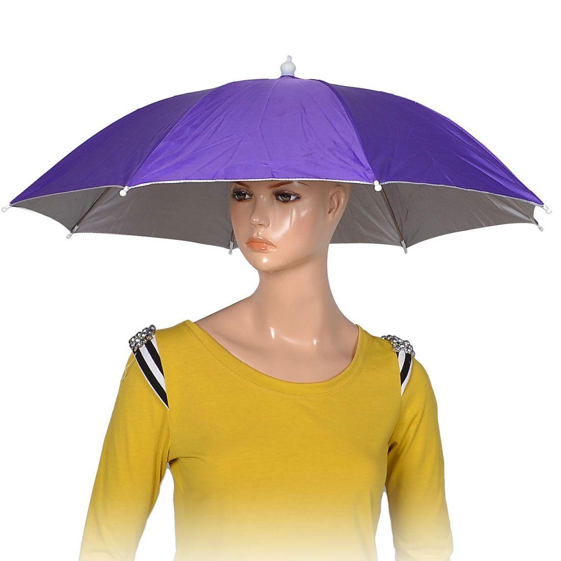 Purple Polyester 8 Ribs Fishing Sun Rain Headwear Umbrella Hat Cap Fishing Umbrella Umbrella Headwear