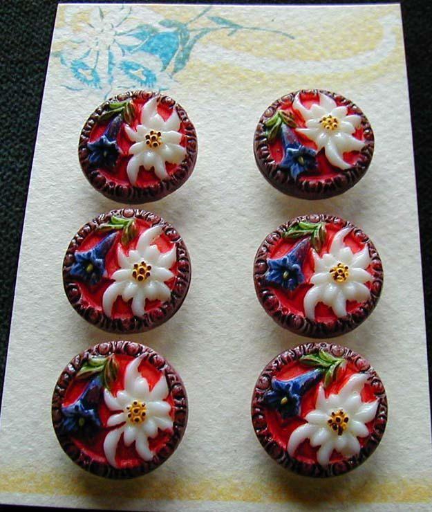 antique glass edelweiss buttons