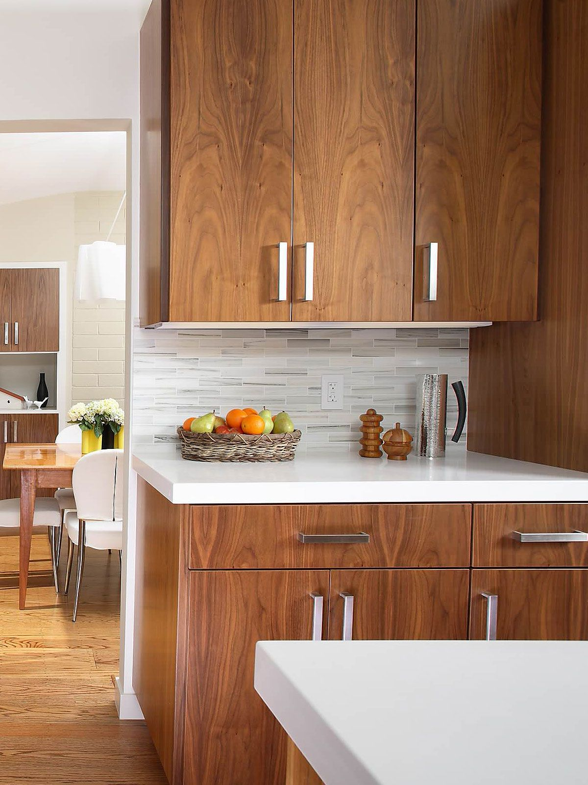 White Modern Subway Marble Mosaic Contemporary Design Style Kitchen Cabinets And Countertops Kitchen Design Kitchen Remodel