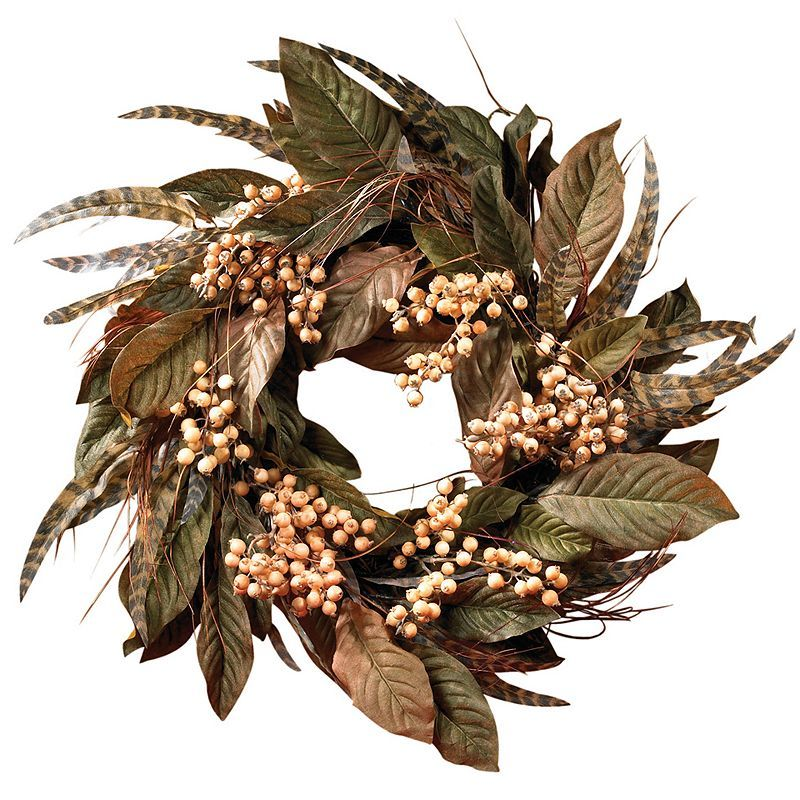 nearly natural Feather and Berry Wreath, Green