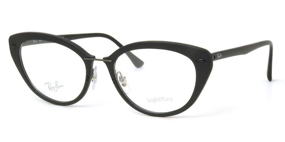 ada9331df3 Ray Ban Frames LightRay Cat Eye Matte Black Eyeglasses RB 7088 2077 54 mm  ORX  RayBan