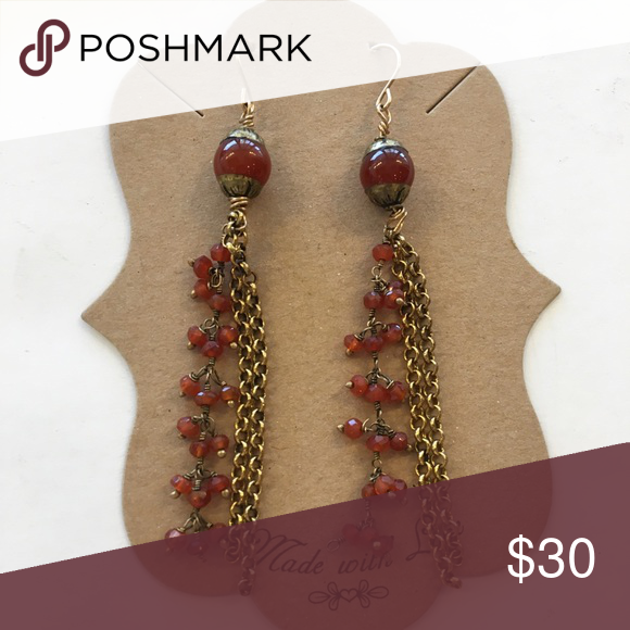 "Rose & Gold Drop Earrings 3"" long earrings with gold chains & red beads Jewelry Earrings"