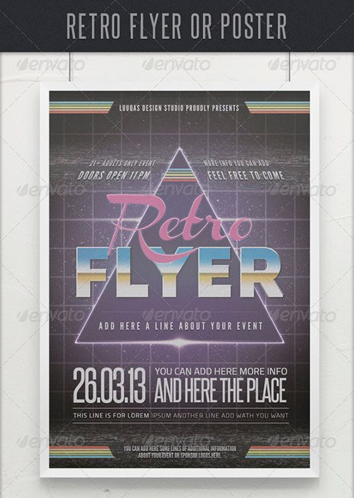 Weekly featured Retro Gaming Flyer Template http\/\/flyersonar - retro flyer templates