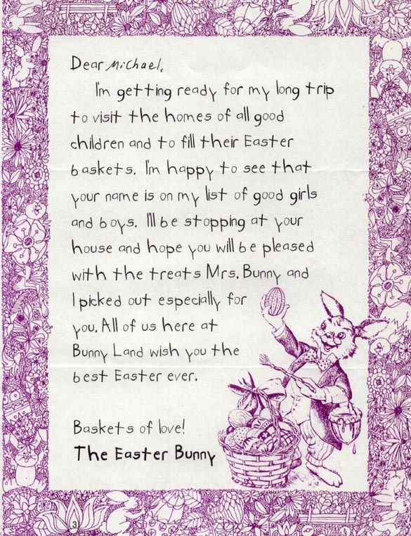 Easter Bunny Letter  PreEaster Letter Good Way To Get The Kids