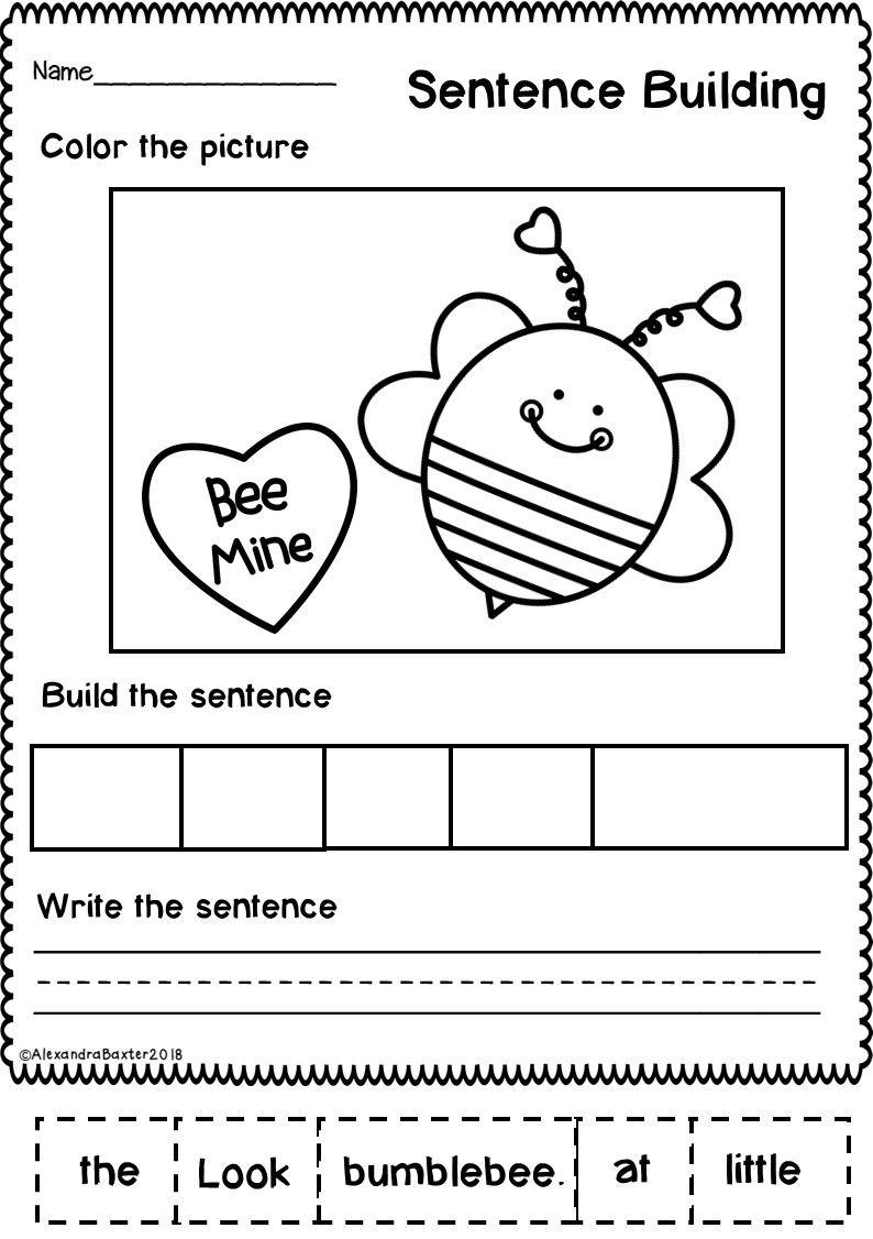Valentine's Day Sentence Building   Sentence building [ 1126 x 794 Pixel ]