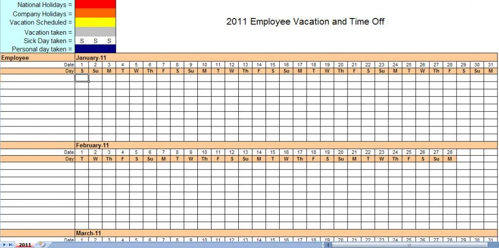 2011 Employee Vacation Tracking Calendar Template Work Pinterest - employee monthly schedule template