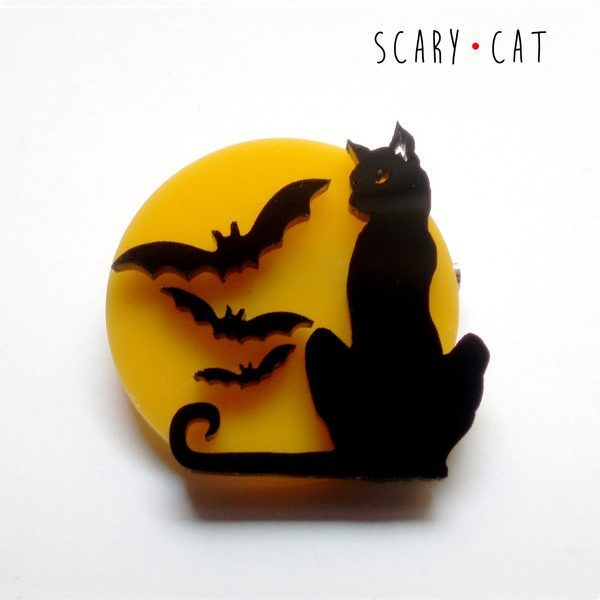 "Spilla ""Scary Cat"" di DarqCreations su DaWanda.com"