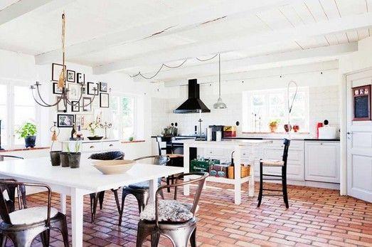 White Kitchen Red Tile Flooring
