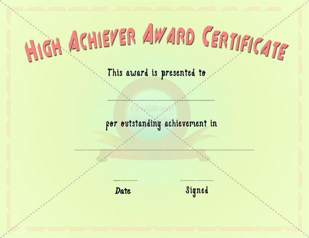 High Achiever Certificate Achievement Certificate Pinterest - best of certificates of appreciation wording