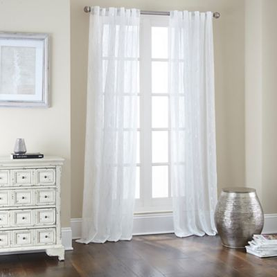 Buy Sovereign Rod Pocket Back Tab 108 Inch Window Curtain Panel In White Silver From Bed Bath Beyond