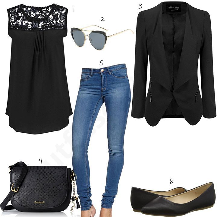 schwarzes outfit mit only jeans und blazer w0466. Black Bedroom Furniture Sets. Home Design Ideas