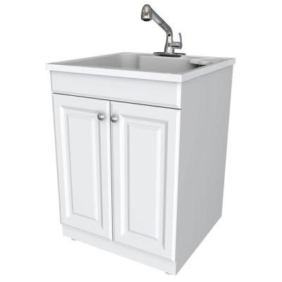 Glacier Bay Full Feature 24 In. X 24.5 In. Wood Laundry Tub With Cabinet