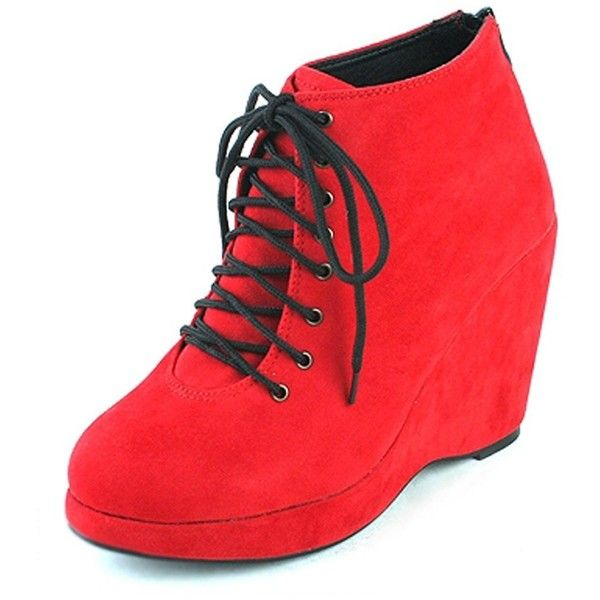 Amazon.com | Epicsnob Womens Shoes Red Wedge Heel High Top Bootie... (520 SEK) ❤ liked on Polyvore featuring shoes, sneakers, red wedge shoes, wedge sneakers, red shoes, hi top wedge sneakers and platform shoes