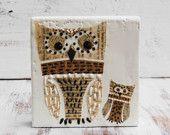 Mama OWL Original Encaustic Mixed Media Painting Vintage Paper Art
