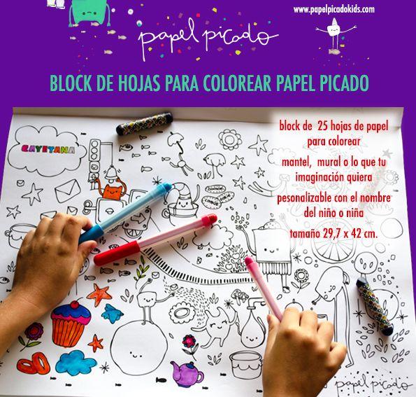Block de hojas para colorear de papel picado | Niños | Pinterest