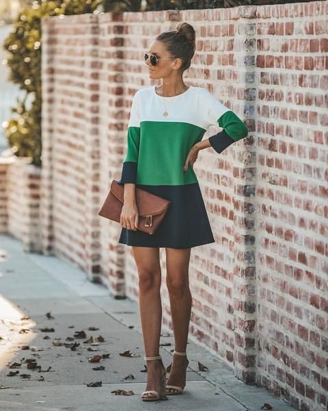 Expensive Taste Colorblock Shift Dress - Green/Navy #expensivetaste