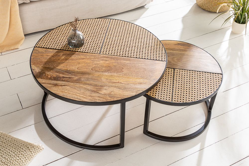 Industrial Couchtisch 2er Set Vienna Lounge 70cm Rund Mangoholz Mit In 2020 Couchtisch Set Couchtisch Couchtisch Design