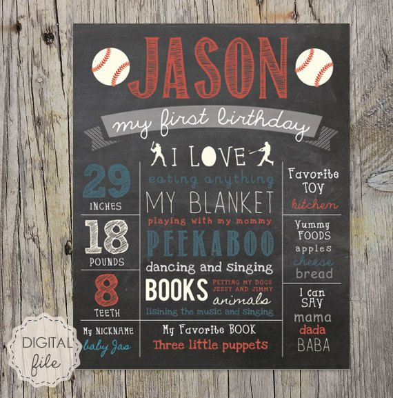 Personalized Baseball Chalkboard sign sport - First birthday baseball chalk board poster - DIGITAL FILE! by Printaposters on Etsy