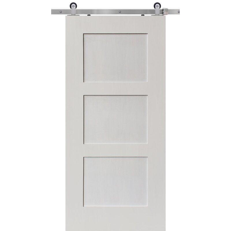 Paneled Manufactured Wood Primed Barn Door Without Installation Hardware Kit Doors Interior Glass Barn Doors Barn Door