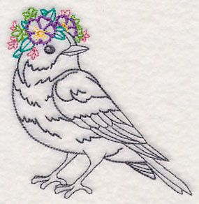 Bird with Floral Crown (Vintage) design (M12170) from www.Emblibrary.com
