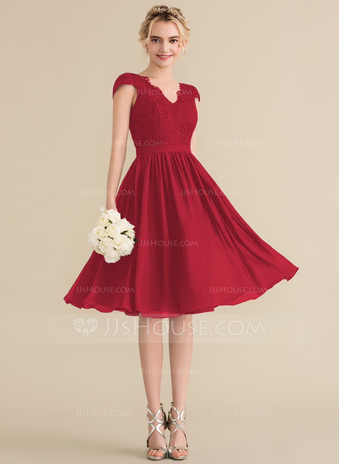 a57203a705de9 A-Line/Princess V-neck Knee-Length Chiffon Lace Bridesmaid Dress  (007144774) - Bridesmaid Dresses - JJsHouse