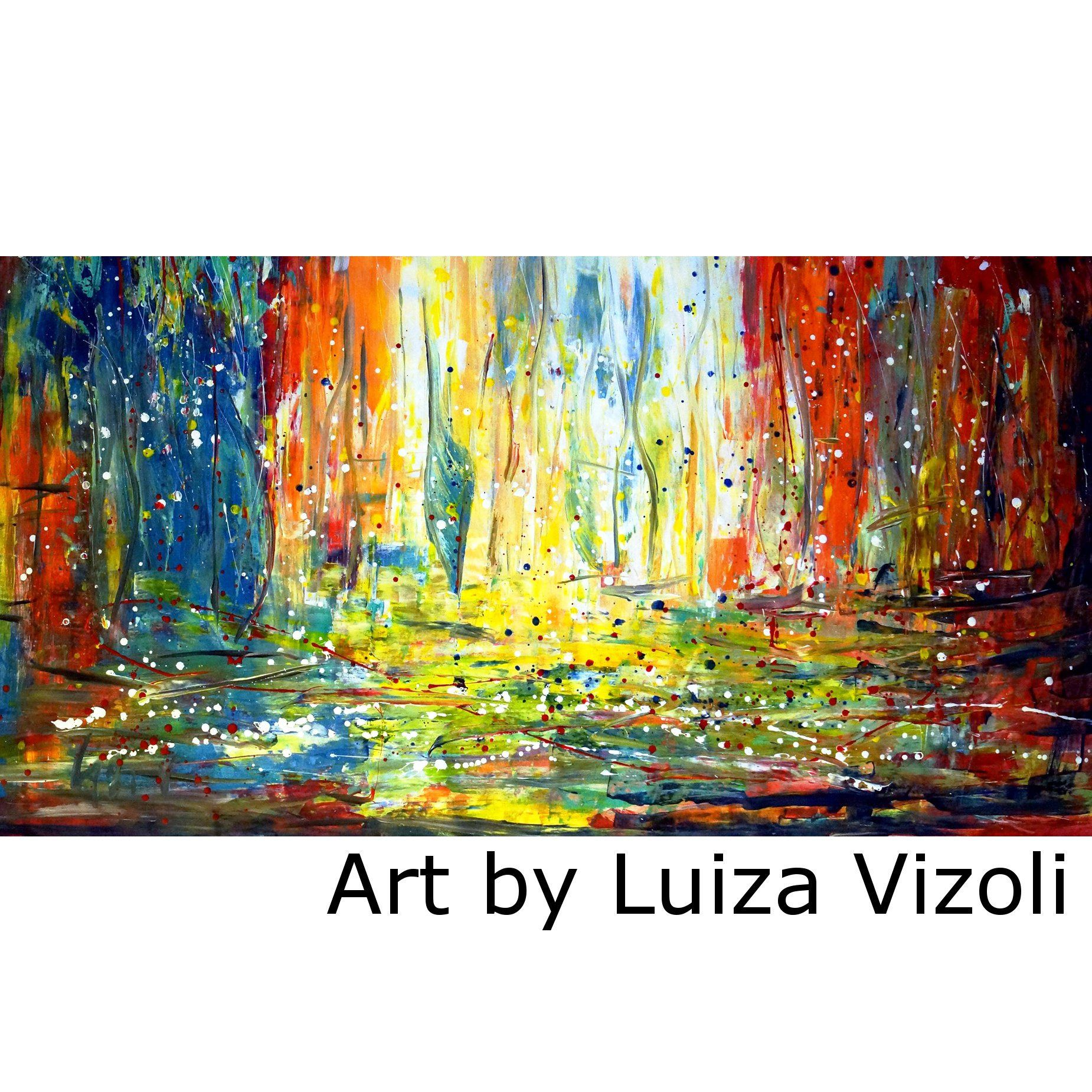 SUNRISE BOATS Abstract Painting HUGE Pollock Inspired 72x36 ...