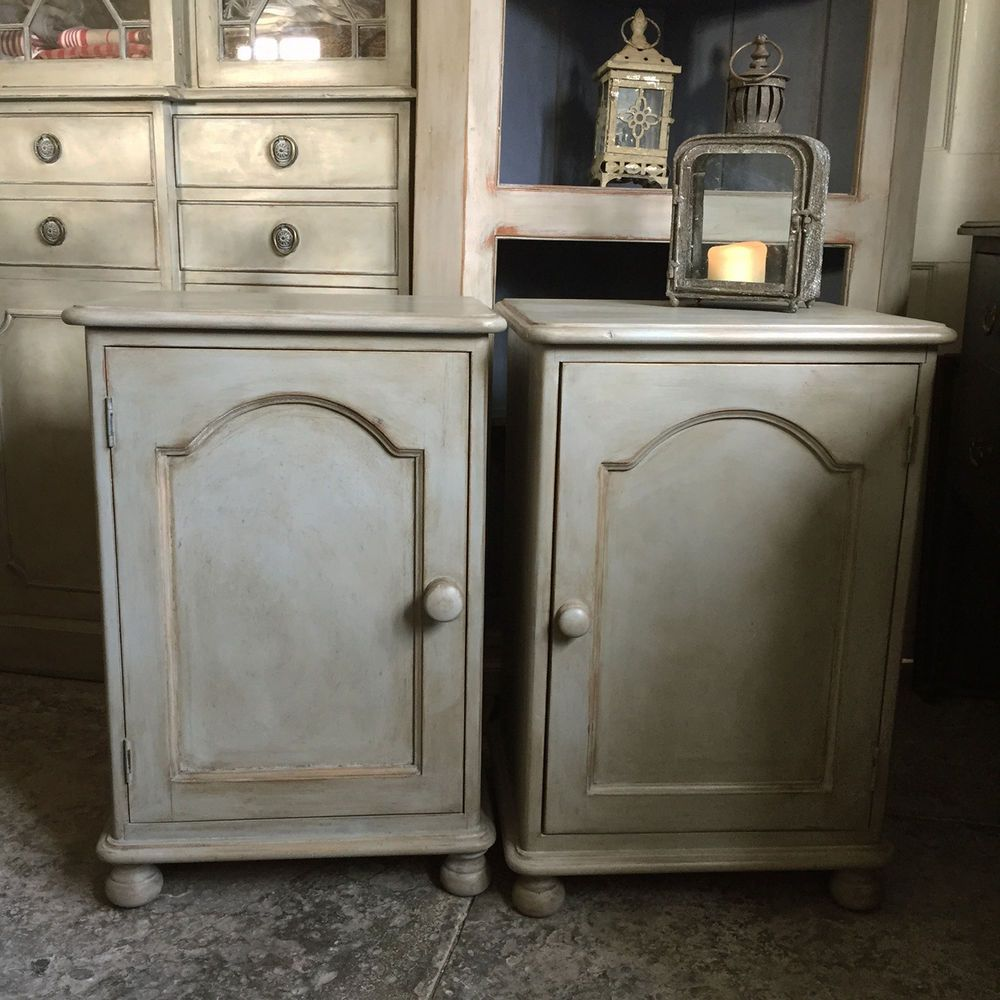Lovely Matching Pair Of Grey Hand Painted Pine Bedside