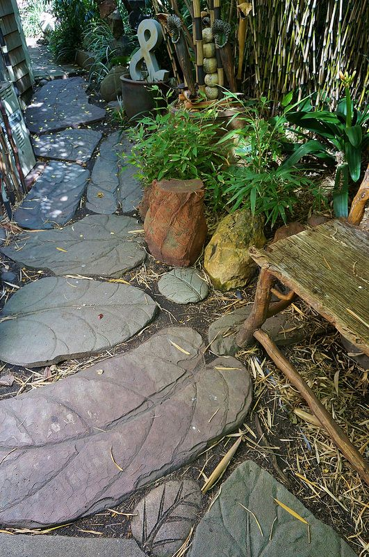 Carved stone leaves (Stepping stones) garden art | by KarlGercens.com GARDEN LECTURES
