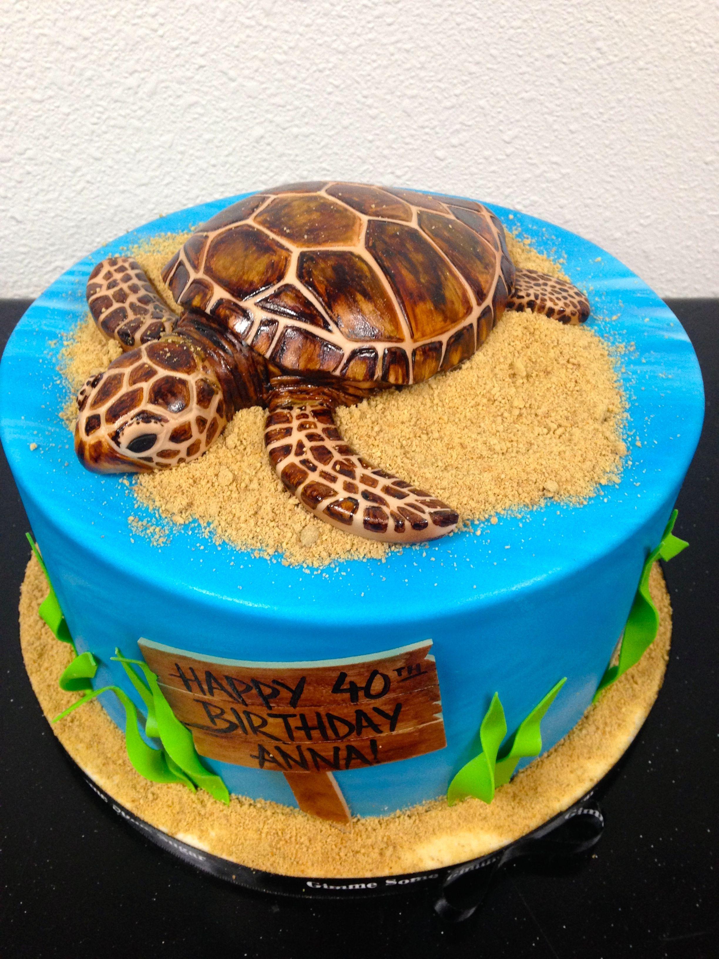 Sea Turtle Birthday Cake Birthday Cakes Pinterest Turtle